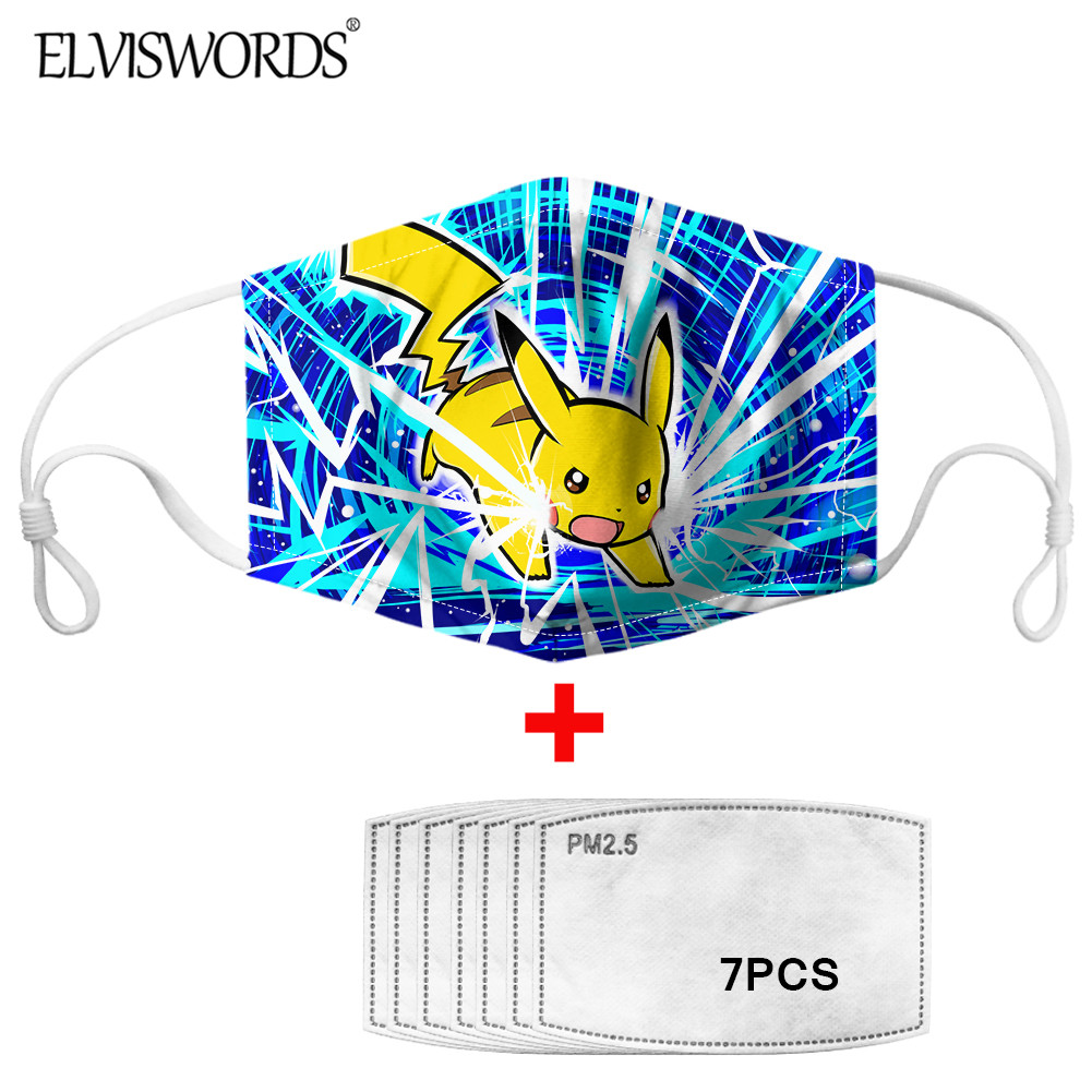 ELVISWORDS Animel Kawaii Pikachu Print Hygiene Mask WIth 7 Pieces PM2.5 Face Mask Filter For Boys Girls Dustproof Mouth-Muffle