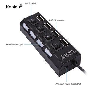 Mini 4 Ports USB 2.0 Hub LED haute vitesse externe USB Hub séparateur pour ordinateur portable ordinateur portable avec câble interrupteur marche/arrêt