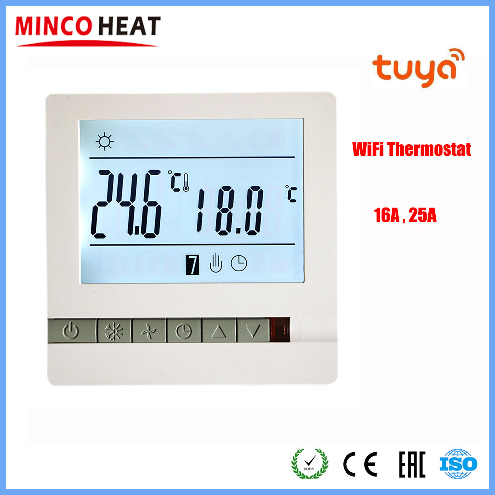 230V 3A 16A 25A Temperature Controller LCD Display Screen Wifi Tuya App Weekly Programmable Room Thermostat
