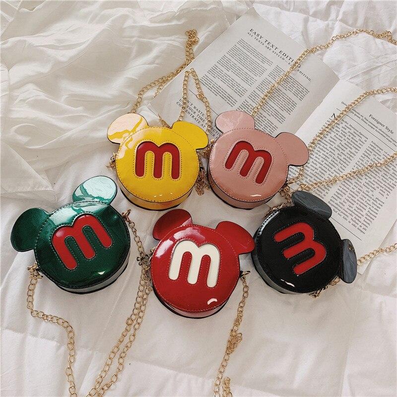 Bolsa de Mickey Mouse das Crianças dos Desenhos Bolsa do Mensageiro Bolsa de Compras Disney Novo Pacote Pequeno Bolsa Rodada Animados Bonito Cadeia Menina Crianças Presentes