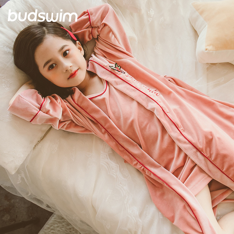 Peignoir d'hiver pour enfants flanelle chaude allonger Robe épaissir à capuche Robe de chambre fille corail velours pyjama enfants chemise de nuit