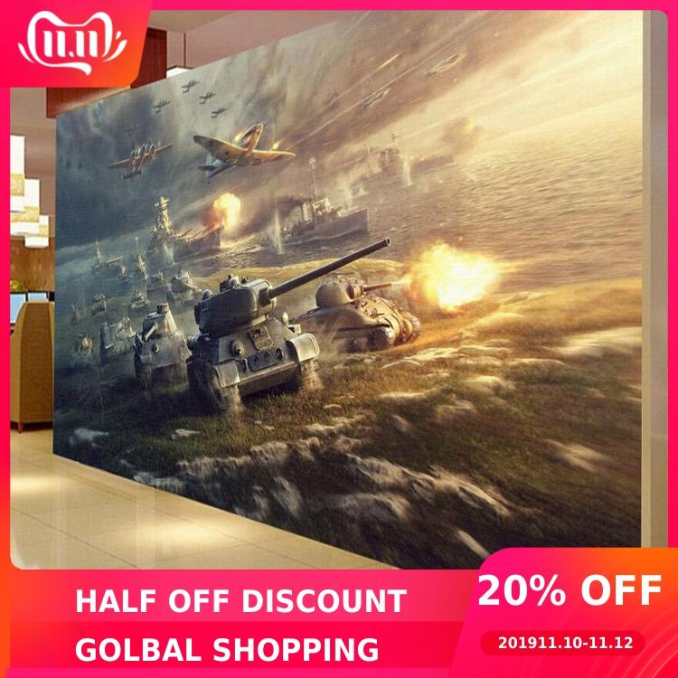Custom Mural  Internet Cafes Game Room 3D Wallpaper Aircraft Tanks War Military Soldiers Bar KTV Hotel Bedroom Living Room Mural