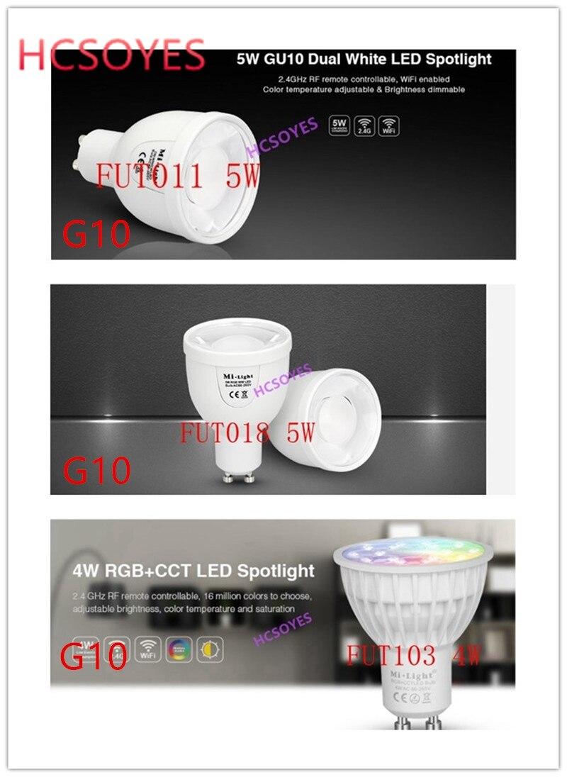Milight GU10 FUT011 5W Dual White /FUT018 5W RGBW/FUT103 4W RGB+CCT LED Spotlight Need 2.4ghz RF Wifi Remote Control AC100~240V