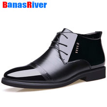 Flats High Quality Designer Men Boots Microfiber Men Winter Shoes Wool Inside Warm Fur Plush Snow Black Leather Ankle Footwear(China)