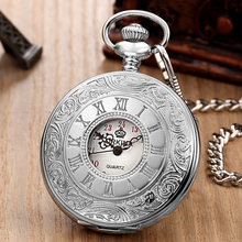 цена на Retro Roman Numerals Hand Wind Mechanical Pocket Watch FOB Chain Steampunk Skeleton Hollow Case Vintage Pendant Necklace Men