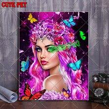 5d diy алмазная живопись красивая девушка мозаика вышивка крестиком бабочки, цветы, фея Алмазная вышивка круглые квадратные камни декор