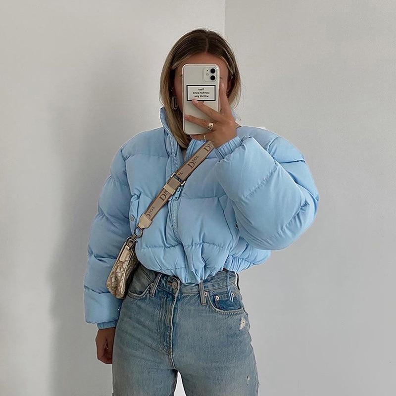 Women Autumn Winter Warm Jacket Long Sleeve Zip Up Thick Puffer 2020 Fashion Clothes Short Jacket Cotton Thick Drawstring Parkas Parkas  - AliExpress