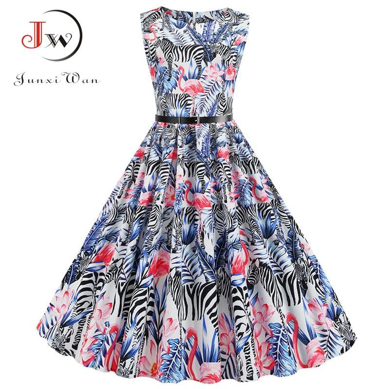 Flamingo Print Women Summer Dress Vintage Sleeveless O-neck Elegant Floral Party Dresses Vestidos Casual Plus Size Robe Femme 1