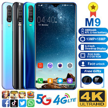 Smartphone M9 Phone MTK6595 Cell phones 5G LTE Unlocked smartphone 8GB+512GB Camera 13MP+18MP. Mobile phone 6.3