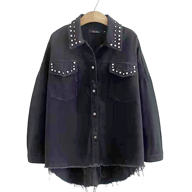 Plus Size Beading Denim Jacket Women 2020 Spring New Fashion Coat Turn-down Collar Single Breasted Black Female Jacket