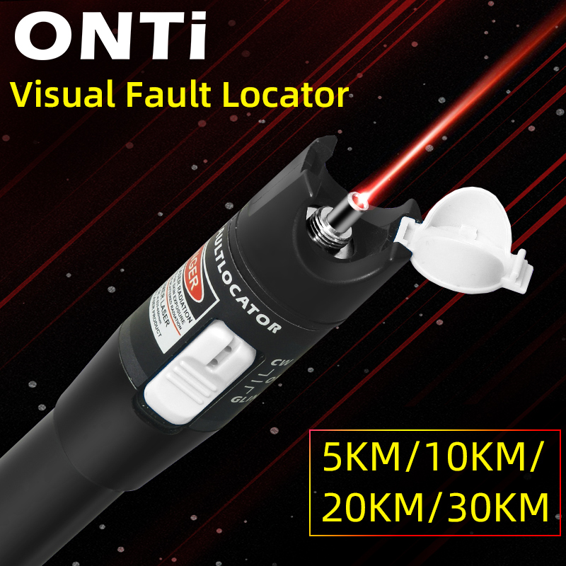 Image 2 - ONTi 10mW Visual Fault Locator Fiber Optic Cable Tester 30mw Red Laser Light 5 30KM Pen Type Visual Fault Locator SC/FC/STFiber Optic Equipments   - AliExpress