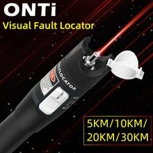 ONTi 10mW Visual Fault Locator Fiber Optic Cable Tester 30mw Red Laser Light 5 30KM Pen Type Visual Fault Locator SC/FC/ST