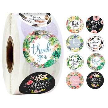 500pcs Creative Thank You Flower Round Seal Sticker Tags Gift DIY Baking Decorative Stationery Stickers jwhcj creative arts font thank you