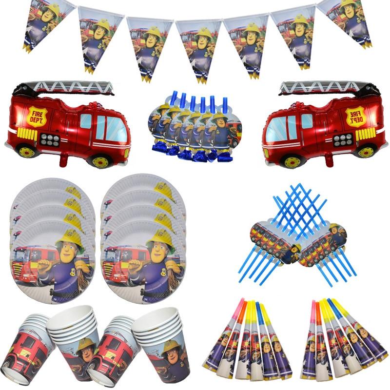 Пожарный Сэм День Рождения украшения баннер пожарный двигатель боец тематические бумажные стаканчики тарелки сувениры детский душ товары для вечеринок