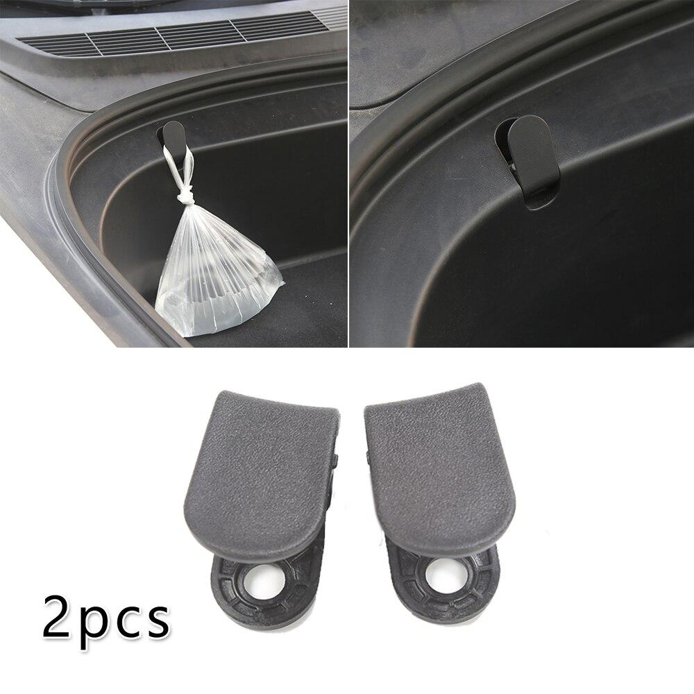 2pcs Auto Front Trunk ABS Black Hook Car Pendant For Tesla Model 3 2017-2020 Front Spare Box Hook Accessories Car Hooks Cli