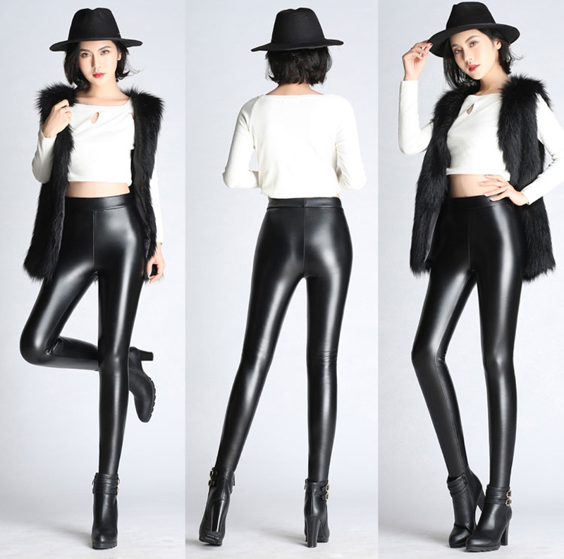 BGTEEVER Spring Autumn Winter Soft PU Leather Pant Women Velvet Pants Warm Stretch Skinny Trousers Pencil Leather Leggings 21