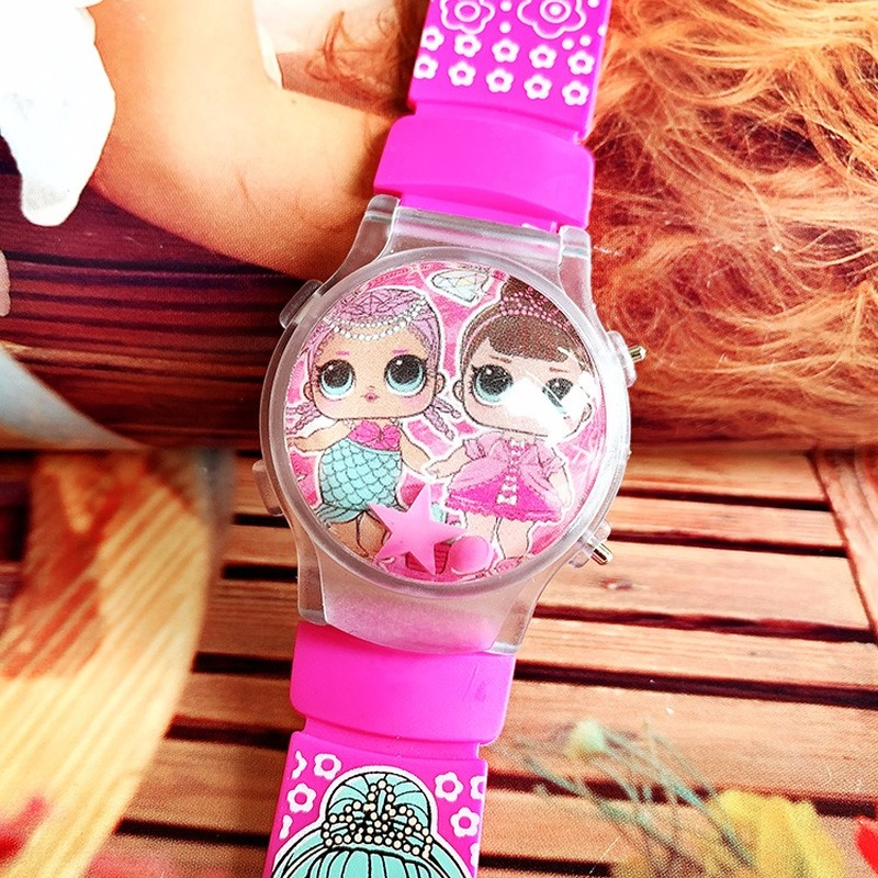 Popular Cute Children Cartoon Surprise Doll Girl Silicone Calendar Flashing Light Table Luminous Movement Wave Table