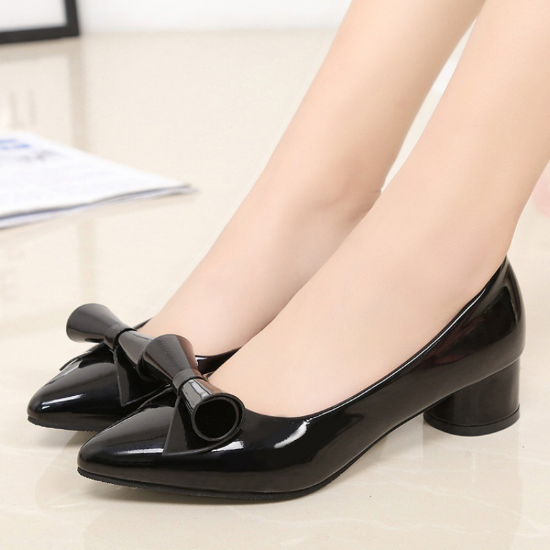 2018 New Style Korean-style Shallow Mouth Pointed WOMEN'S Shoes Semi-high Heeled Chunky-Heel Moccosins Black Bowknot Four Season