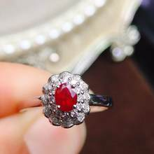 Ruby Ring Pure 18K Gold Jewelry Real Natural 0.48ct Red Ruby Diamonds Jewelry Anniversary Female's Rings for Women's Fine Rings(China)