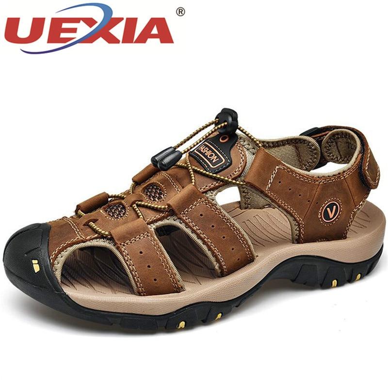 UEXIA zapatos masculinos sandalias de cuero genuino para Hombre Zapatos de verano para hombre moda de playa al aire libre Casual antideslizante zapatillas calzado talla 48