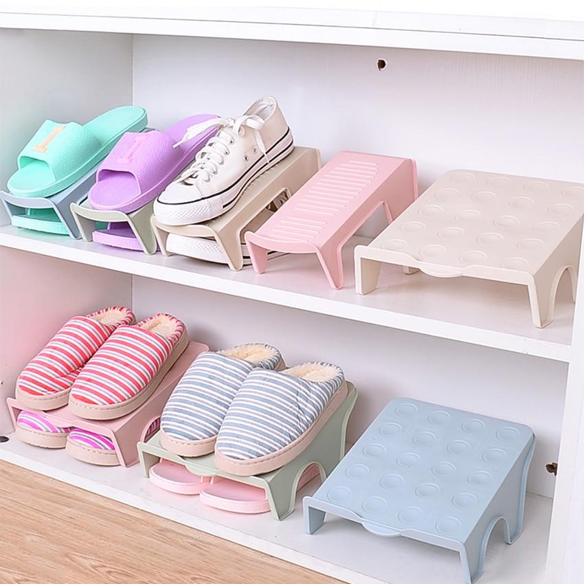 Shoes Storage Organization Holder Shoe Rack Cabinet Household  Wardrobe Layered Storing Shoes Stand Shelf Single Double Box HOT