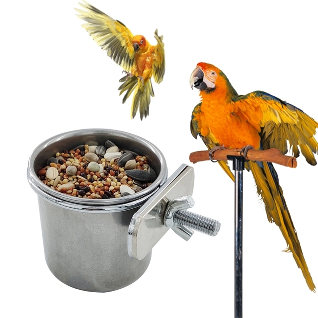 Hanging Stainless Steel Cage Feeding & Watering Bowls For Parakeets -Lovebirds -Finches - Parrots 3