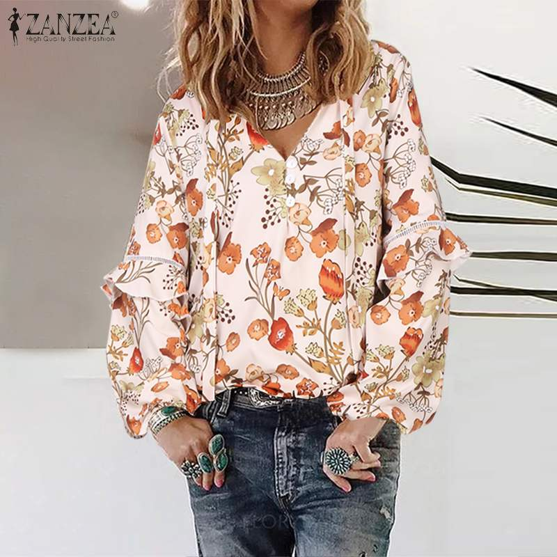 Fashion Floral Tops Women's Stitching Lace Blouse 2020 ZANZEA Causal Long Sleeve Printed Shirts Female V Neck Blusas Plus Size