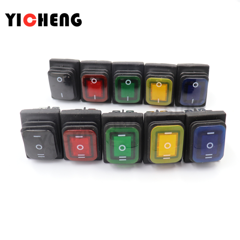 Вкл. Выкл. Водонепроницаемый и маслостойкий переключатель KCD4, четыре фута, 2 пилки, красный, зеленый, с подсветкой, 6-футовый светодиодный вык...