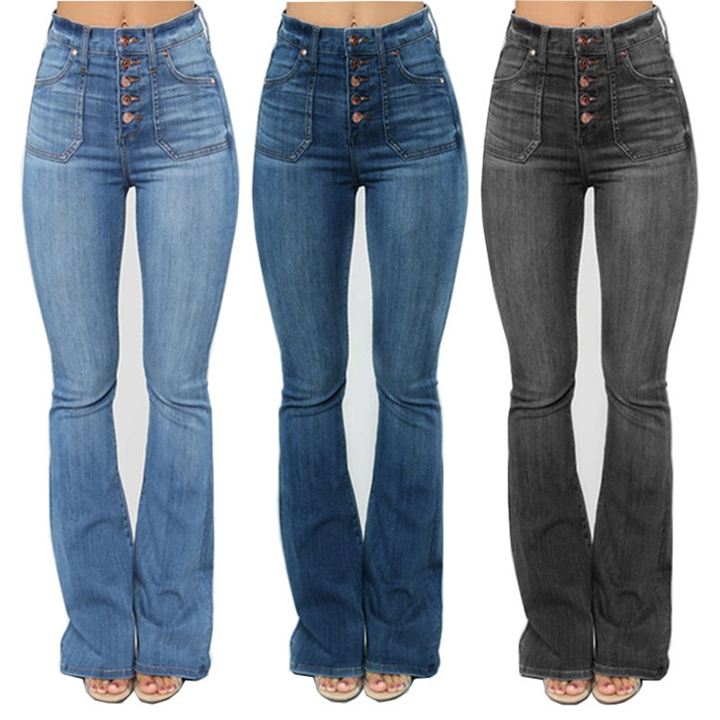 Fashion High Waist Female Jeans For Women Plus Sizes Pants Bell Bottom Casual Denim Fat Mom Flare Jeans Skinny Jeans Woman