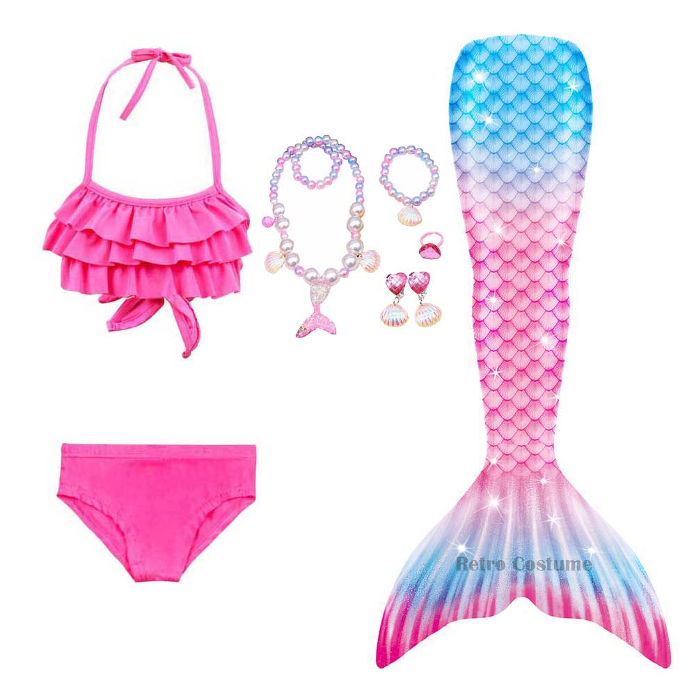 Kids Bikini Mermaid Tail Dress Necklace Cosplay Costume Set 3-12 Years Girls Shell Bikini Mermaid Tail Halloween Costume