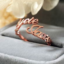 Personalized ring two names custom lettering name 3 colors adjustable female anniversary jewelry birthday gift BFF