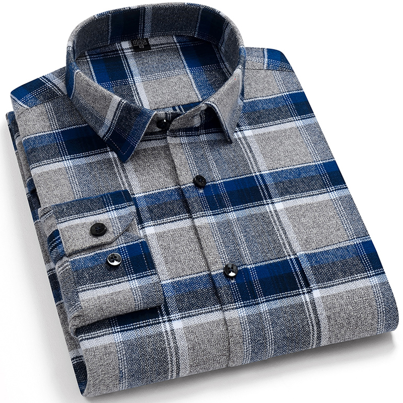 Men's Brushed Cotton Plaid Casual Shirt Single Patch Pocket Long Sleeve Standard-fit Comfortable Flannel Thick Gingham Shirts