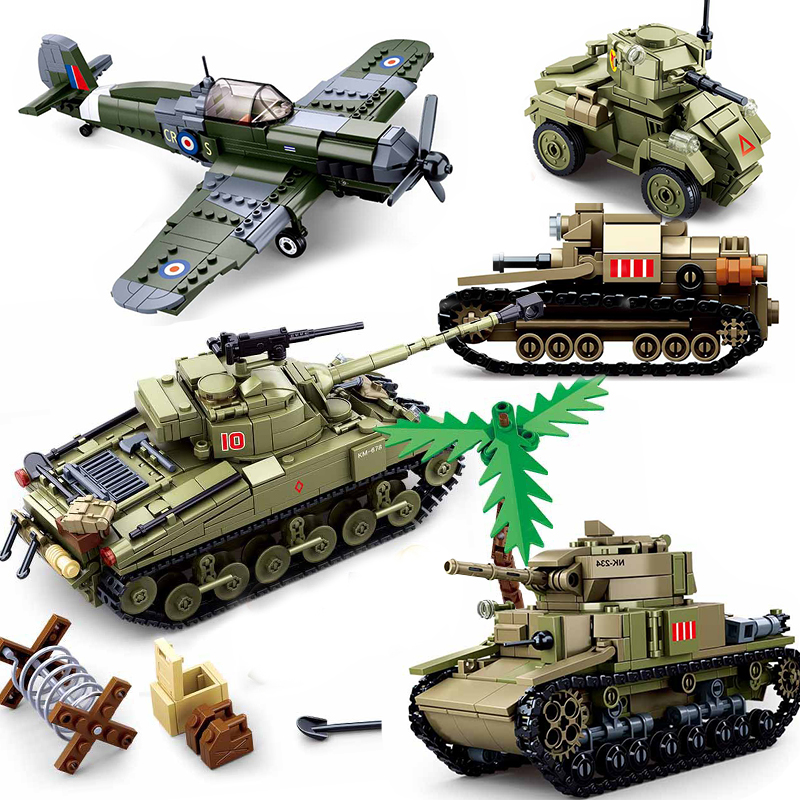 WW2 Military Pazer Tank Army Vehicle Compatible Aircrafts War Plane Fighter Jet Armored Car Building Blocks Bricks Toys