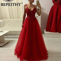 BEPEITHY 2020 A Line Burgundy Long Evening Dresses Party Elegant Sexy Deep V Neck Vestidos De Festa Prom Gowns
