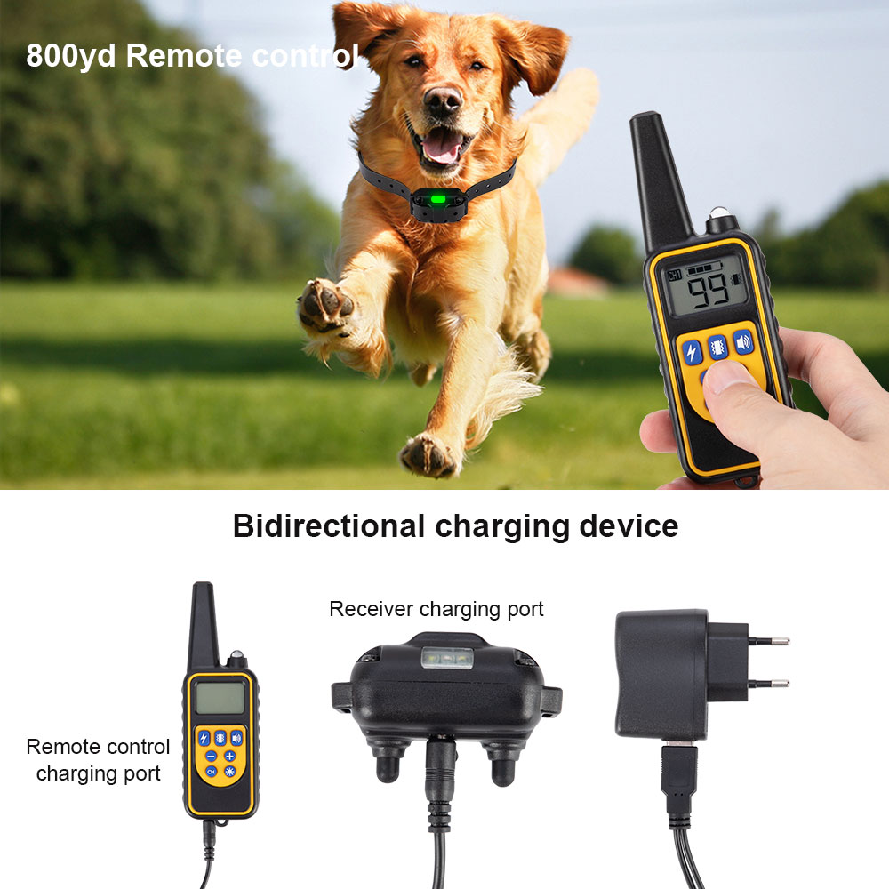 800m Electric Dog Training Collar Pet Remote Control Waterproof Rechargeable with LCD Display for All Size Shock Vibration Sound 3