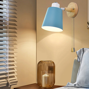 Image 1 - Holz wand lichter nacht wand lampe mit schalter moderne wand ligh Nordic macaron wandlampen schlafzimmer restaurant wohnzimmer lenkung