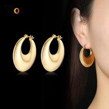 Vnox Minimalistischen Trendy Große Hoop Ohrringe für Frauen Geburtstag Party Schmuck Gold Farbe Edelstahl Ohr Zubehör