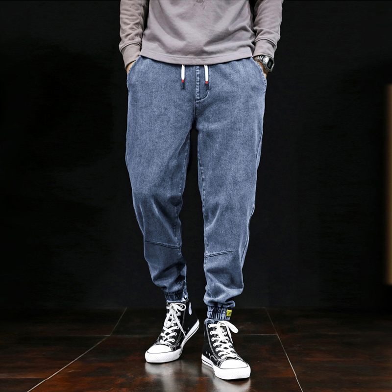2019 Autumn Winter Fashion Men Jeans Japanese Style Loose Fit Elastic Cargo Pants Hombre Denim Harem Trousers Vintage Designer Slack Bottom Joggers Pants Streetwear Hip Hop Jeans Men Big Man Large Size S-7XL