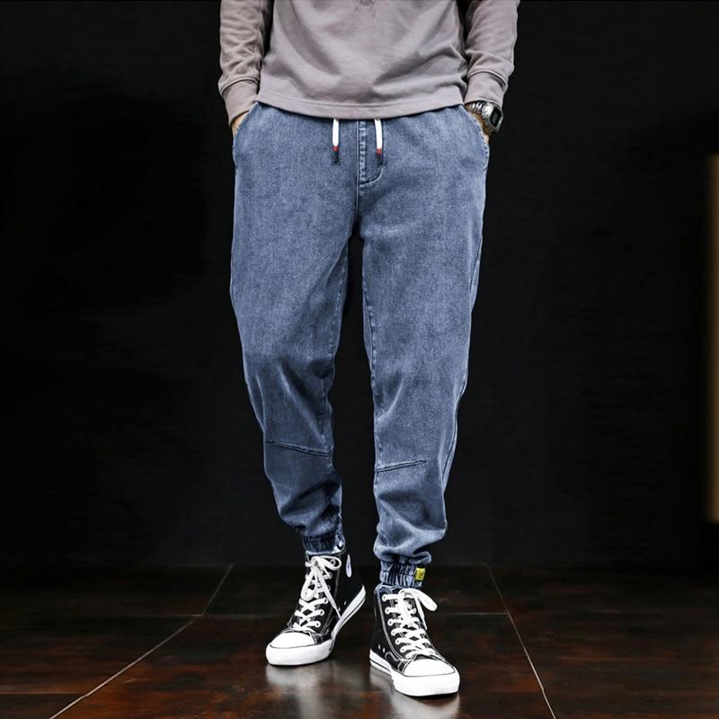 2019 Autumn Winter Fashion Men Jeans Japanese Style Loose Fit Elastic Cargo Pants Hombre Denim Harem Trousers Vintage Designer Slack Bottom Joggers Pants Streetwear Hip Hop Jeans Men Big Man Large Size S-7XL