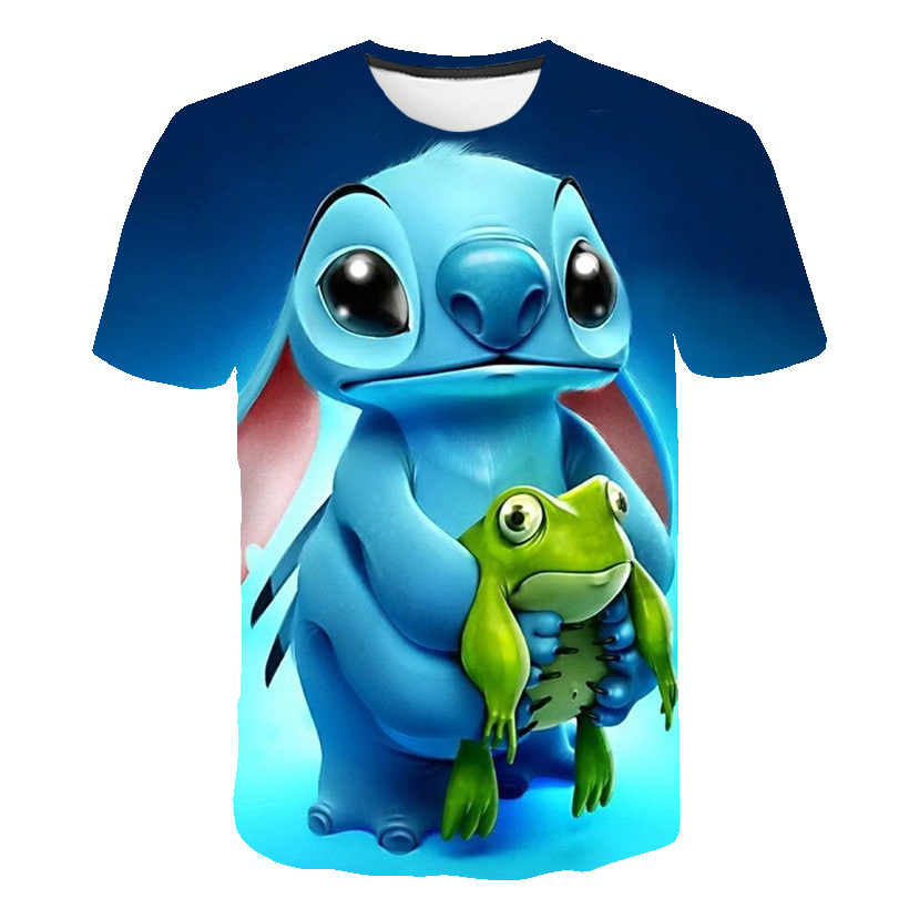 3D Babys Lilo Stitch Jongens T Shirts Kids Harajuku Kawaii Grappige T-shirt Mooie Cartoon Casual Kleding Leuke Streetwear Tops Tees