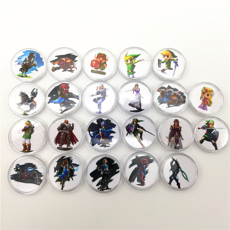23pcs/lot Zelda Game Collection Coin NFC Card 2019 New Data Setting NS Switch TAG For Amiibo Mini Standard Card Ntag215 Tag