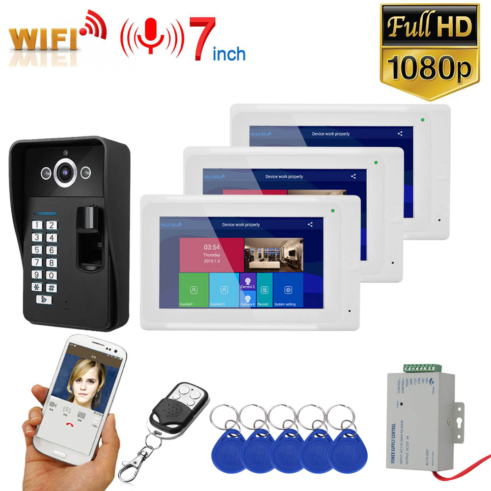 GAMWTER 7 Inch  2 Monitors  Wifi Wireless Fingerprint RFID  Video Door Phone Doorbell Intercom System With Wired 1080P  Camera