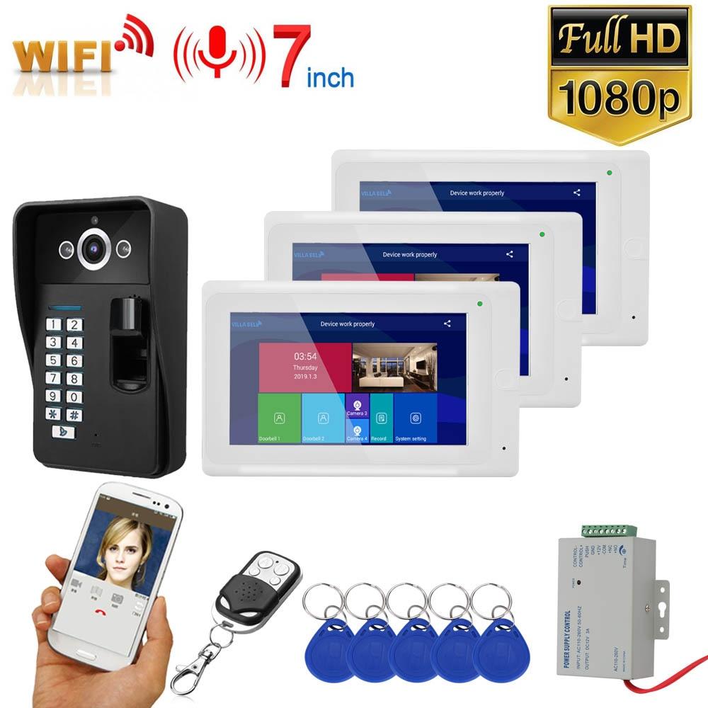 GAMWTER 7 Inch  2 Monitors  Wifi Wireless Fingerprint RFID  Video Door Phone Doorbell Intercom System With Wired 1080P  Camera