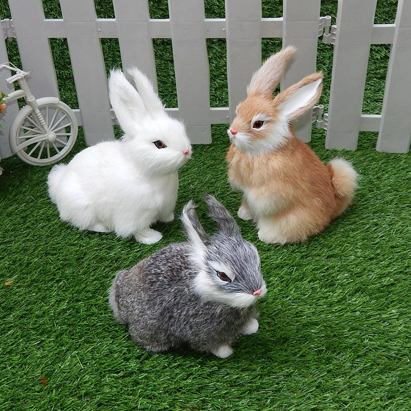 15CM Mini Realistic Cute White Plush Rabbits Fur Lifelike Animal Easter Bunny Simulation Model Birthday Gift Rabbit Toy