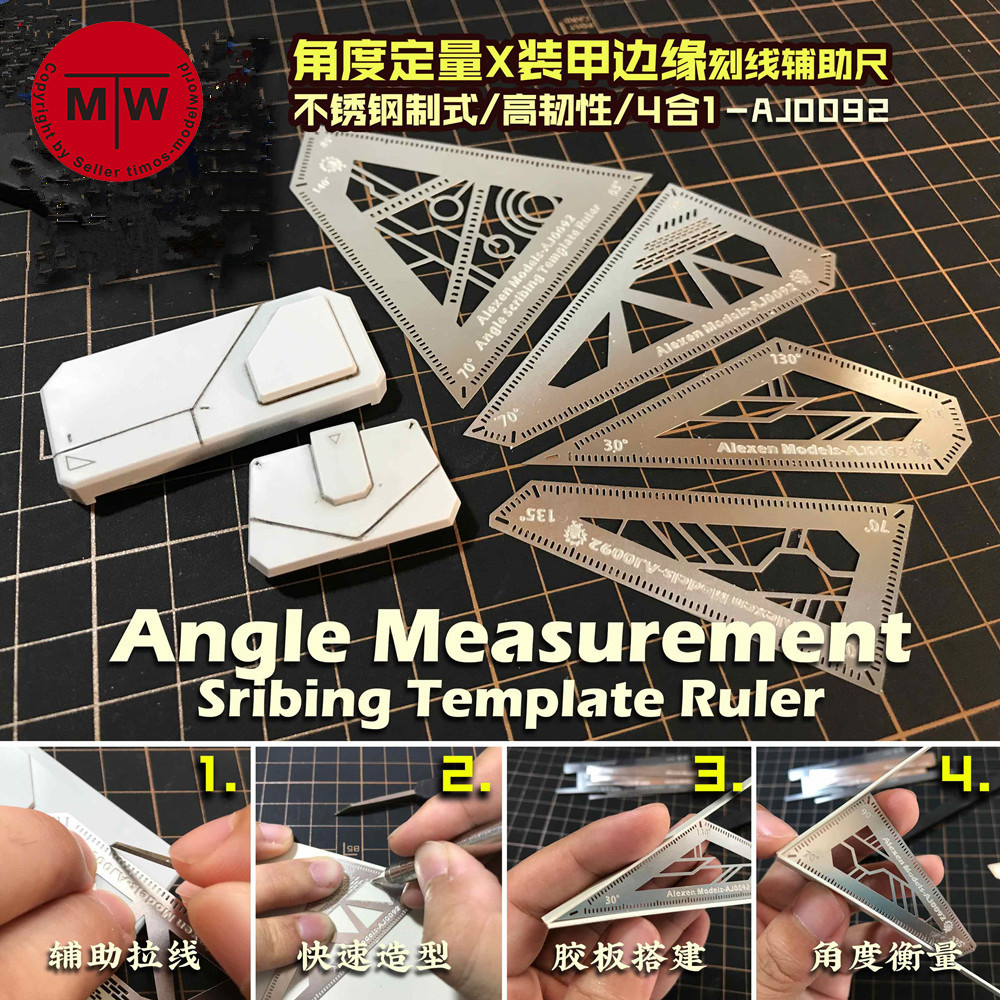 1/100 1/144 Scale Angle Measurement Scribing Template Ruler for Gundam Model Building Tools 4in1
