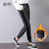 Pants Women Winter High Waist Plus Size Velvet Thicken Drawstring Elastic Loose Warm Sports Trousers Harem Pants 5xl 6xl