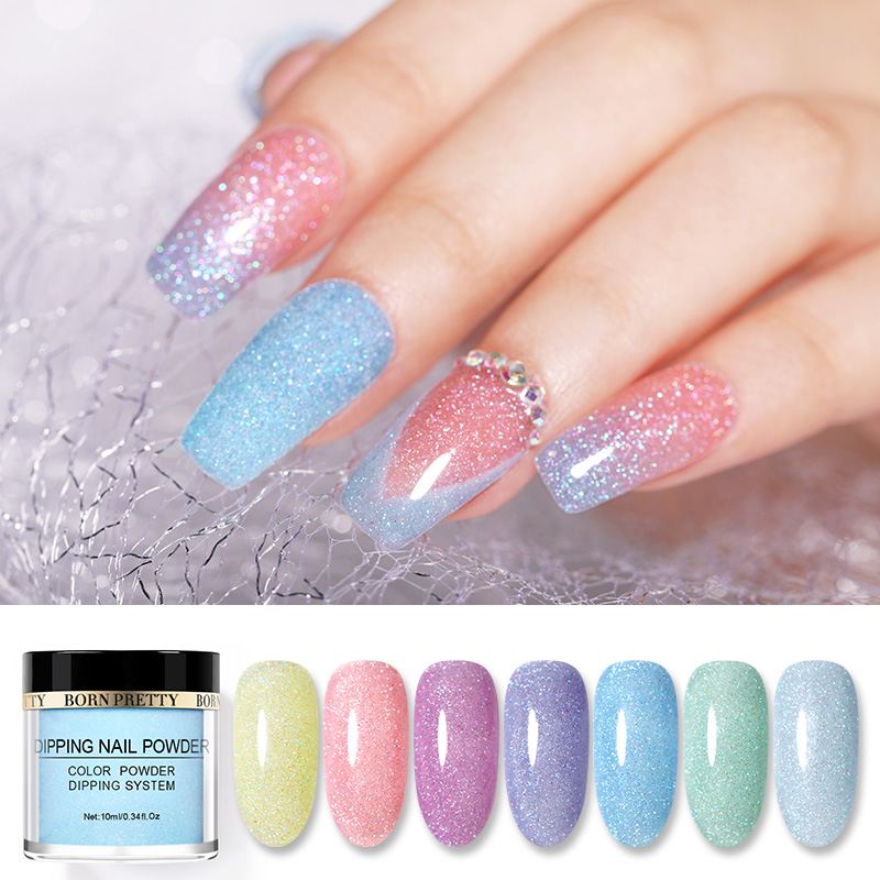 BORN PRETTY Natural Dry 10 Ml Translucent Starlit Dipping Nail Powder Glitter Dip Dust  Nail Art Decoration DIY Design