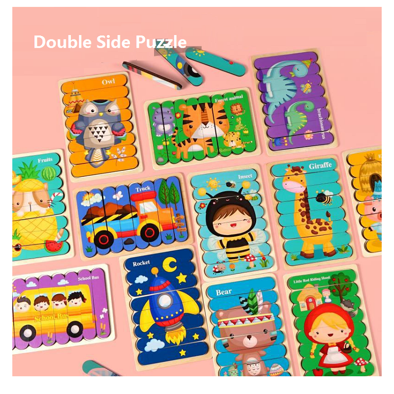 Kid Brain Wooden Toy Double-sided 3D Strip Animal Puzzle Telling Stories Stacking Jigsaw Montessori Educational Toy for Children
