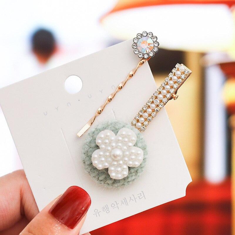 Купить с кэшбэком 2pcs Originality Pearl Hairpin Concise Small Fresh Edge Clamp Pearl Hair Decorate  Crystal Rhinestone Hair Clip For Women