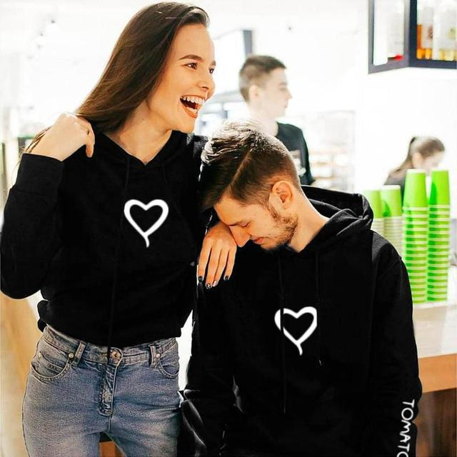 Valentine's Day Hoodies For Couples Autumn Spring Harajuku Heart Print Long Sleeve Hooded Sweatshirt Casual Pullover Tops Women 3